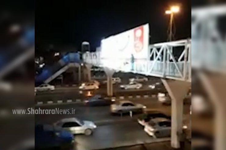 فیلم/خودکشی نافرجام دختر مشهدی از پل هوایی پارک ملت مشهد