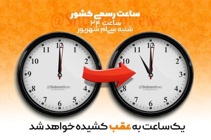 ساعت رسمی کشور، امشب یک ساعت به عقب کشیده میشود