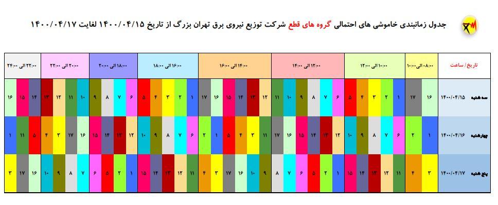 جدول جدید قطع برق در تهران؛ سهشنبه ۱۵ تیر + دانلود لیست مناطق