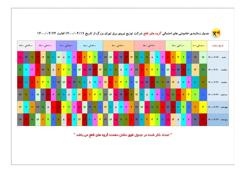 جدول قطعی برق در تهران؛ دوشنبه ۲۱ تیر ۱۴۰۰ + دانلود لیست مناطق