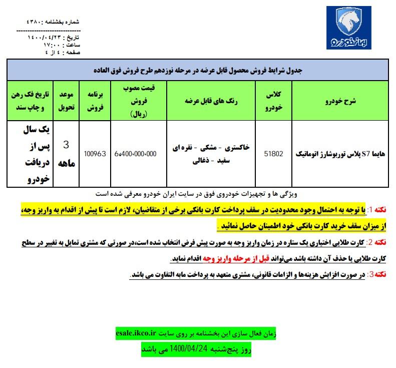 جزئیات مرحله نوزدهم فروش فوق العاده ایران خودرو (۲۳ تیرماه ۱۴۰۰)