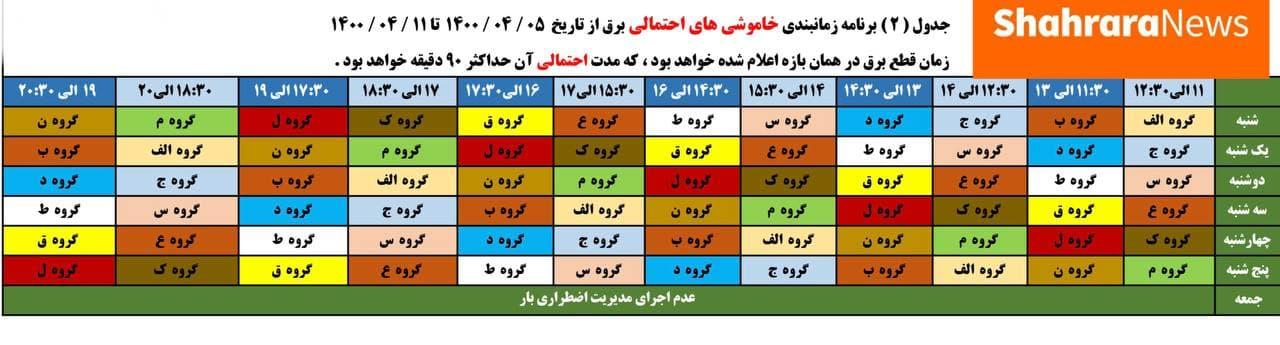 جدول جدید قطعی برق در مشهد (از ۵ الی ۱۱ تیر)