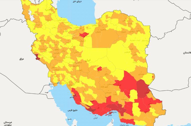 آخرین رنگ بندی شهرهای کشور از شنبه ۵ تیرماه ۱۴۰۰ + اسامی شهرهای قرمز