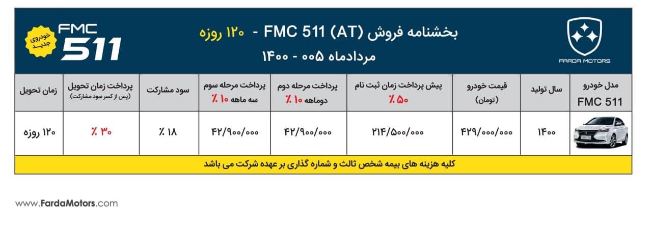 شرایط فروش خودرو فردا ۵۱۱ با موعد تحویل ۱۲۰ روزه + جدول و چزئیات